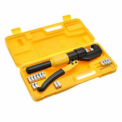 Hydraulic Crimper Plier Cable Wire 8 Ton 4mm-70mm 9 Dies Tool Crimping Kit Case