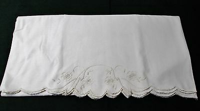 Antique DOUBLE Pillow Case Embroidered Florals Scalloped Edges Unique & Lovely