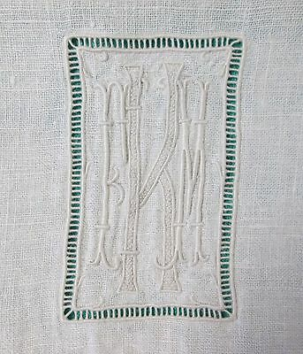 Antique SPECTACULAR Formal Linen Runner Bobbin Lace F K M Monogram Drawnwork