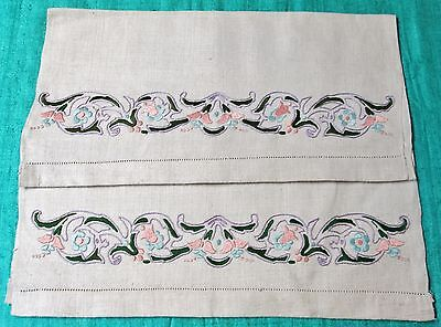 Antique Pair Linen Towels Embroidered Multi Color Butterflies & Flowers Unused