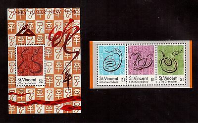 St.vincent & Grenadines 2001 #2857/58 Set 2 S/s Mint Nh, Year Of The Snake !!