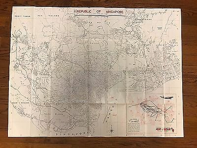 "1969 -70 AIR INDIA Airlines Large ROAD MAP OF SINGAPORE 38"" X 28""  Detailed"