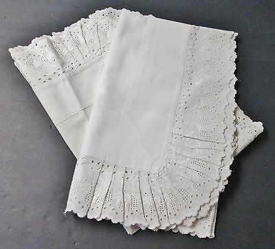 Pair Antique Linen Pillow Shams Eyelet Embroidery Lace Trim Snowy White