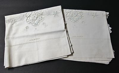 Pair Antique Italian Linen Pillow Cases Embroidery Cutwork Hemstitching Unused