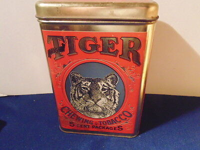 Tiger Chewing Tobacco Can. Large Size. 5 Cent Packages.