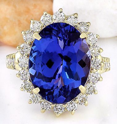 10.08Ctw Natural Tanzanite And Diamond Ring In 14K Yellow Gold