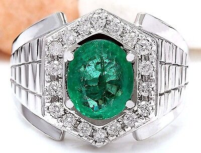3.30Ctw Natural Colombian Emerald And Diamond Ring In 14K White Gold