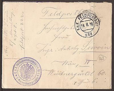 Austria / Italy. Ww1. Feldpost. Fpo 222. 1916. Cover With Contents. Fortress Art