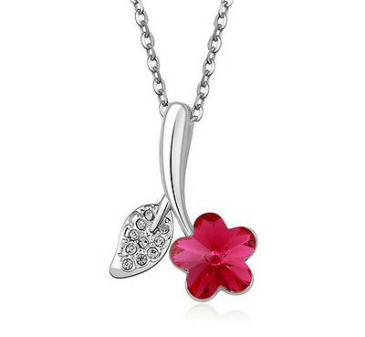 Fashion Womens Star Red Crystal Rhinestone Silver Chain Pendant Necklace