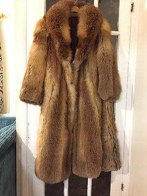 Vintage Red Fox Fur Coat Real Genuine Retro Blogger Full Length 12 14 16