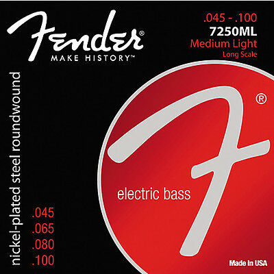 Fender 7250ML Nickel-Plated Steel Roundwound Electric Bass Strings .045-.100