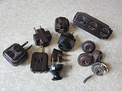 Vintage Bakelite Electric Plugs Appliance Cord & Wall 12 pcs