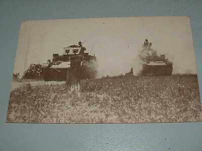 WWII Postcard, Army Tanks in Action, Service Commissariat Postcard