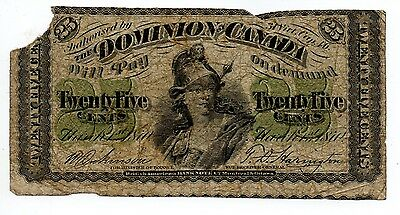 1870 Obsolete Banknote 25 Cents Dominion Of Canada
