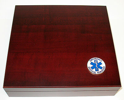 EMT Emergency 20 Cigar Cherry Finish Cigar Humidor Humidifier Gift Display Box