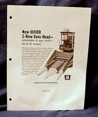 Vintage Oliver 2-Row Corn Head Newspaper Ad Mat  - Ca 1966! ABSOLUTE AUCTION!!!