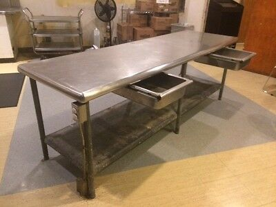 """stainless steel food prep table  30"""" x 96"""" with 2 drawers and lower shelf"""