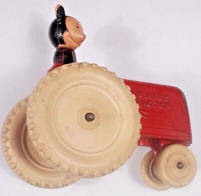 Vintage Rubber Disney Toy Tractor, featuring Mickey Mouse