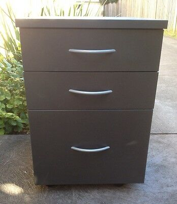 Filing Cabinet - 3 Drawer Mobile - Charcoal Grey