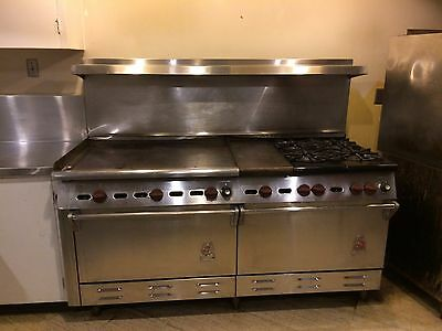 """Wolf 70"""" stainless steel griddle, stove and 2 oven unit"""