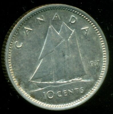1937 Canada King George VI, Silver Ten Cent, Lustrous!