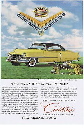 1952 Yellow Cadillac Golden Anniversary Vintage Original Illustrated Car Ad