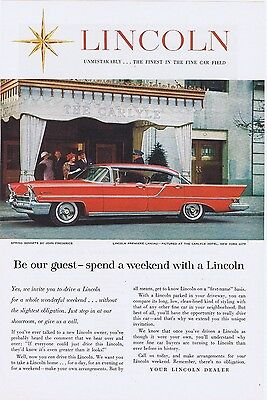 1957 Red Lincoln Landau at the Carlyle Hotel Vintage Original Car Ad Free Ship