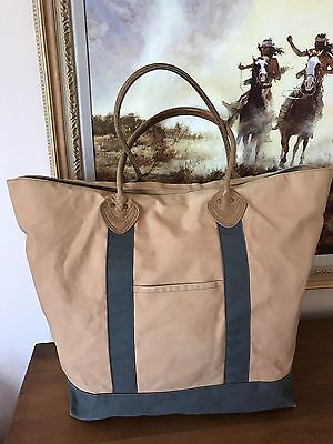 L.L.Bean Boat Canvas Tote XLarge Leather Handles Plaid Lining Golden Green 18x22