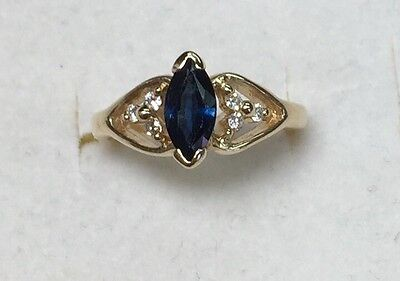 1/2 ct natural (REAL) DIAMOND & SAPPHIRE cluster band ring SOLID 14K yellow GOLD