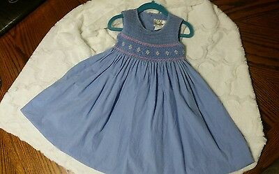 Toddler Girls Rare Editions Blue & Pink Smocked Sleeveless Cotton Dress size 2T*