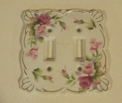 Vintage Kelvin China Flowered Wall Switch Plate for Double Switches.