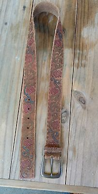 Tooled & Painted Leather Belt Distressed and COOL Vintage Looking.