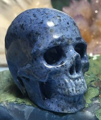 Dumortierite Crystal Skull! Realistic Mineral Carving With Gorgeous Blue Color
