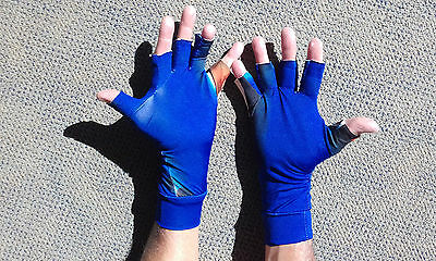 LARGE BLUE PRINT Lycra 1/2 Finger Sun Gloves 50+ Protection Outdoor fishing,golf