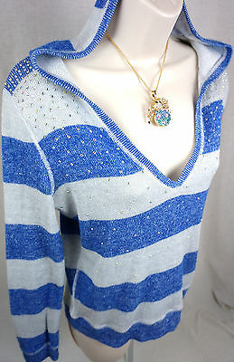 Justice Top Size 16 Girls Crystal Bling Embellished Blue Sweater Shirts Large
