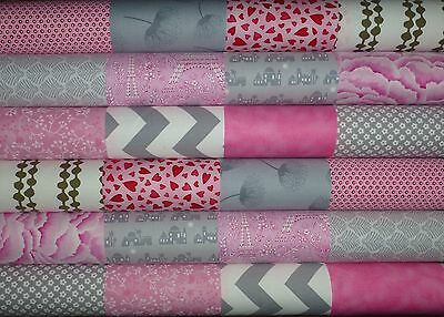 24 Pink Grey Cotton Fabric Quilting Patchwork 5 inch Charm squares #65