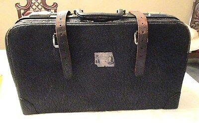 Vintage/ Antique Leather Suitcase  Said To Be Elephant Hide By Estate Seller
