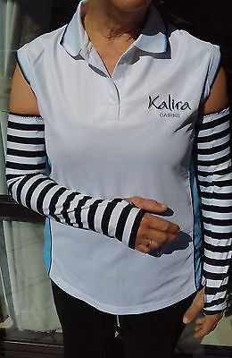 Sun Protection Sleeves in black/white stripe with finger grip 50+UPF Protection