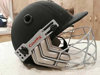 County Cricket Helmet Size Small Dark Green w Face Guard Used Good Condition