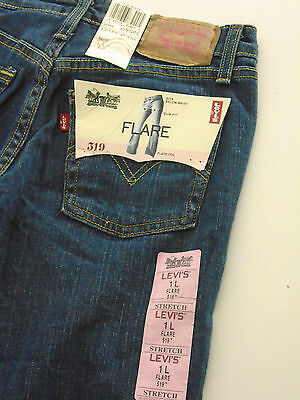 NWT Women Juniors Levi's 519 Slim Fit Stretch Flare Jeans, Size 1 Long