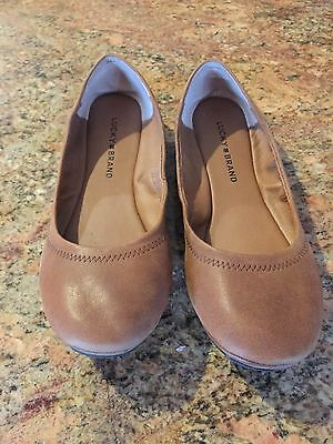 Lucky Brand Emmie Tan  Leather Ballet Flats size 9.5