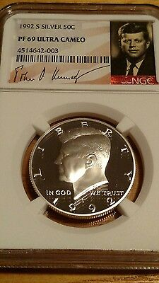 1992 S KENNEDY SILVER 50C NGC PF69 UC Signature label.