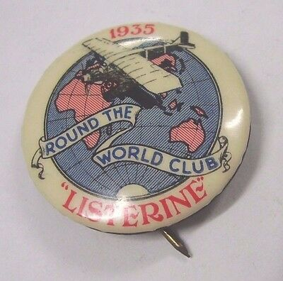 1935 Listerine Round The World Club Badge Button Pin MacRobertson Air Race