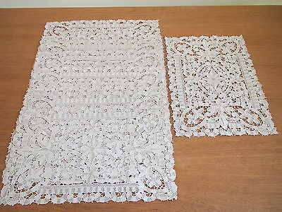 Antique Lace Placemats Vintage Needlelace 9 pc Venice Table Set Ecru