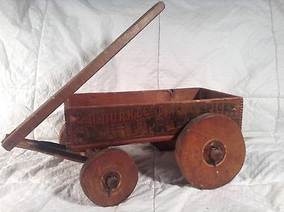 Early E.R. DURKEE & CO. SPICE DOVETAIL BOX made into a Pull Wagon ANTIQUE