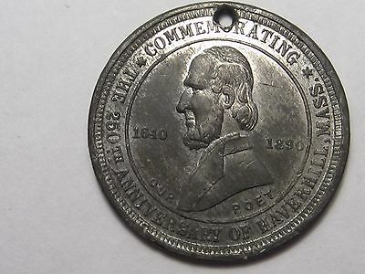 1890 Haverhill Mass. Whittier Medal (w/ Hole).  #50