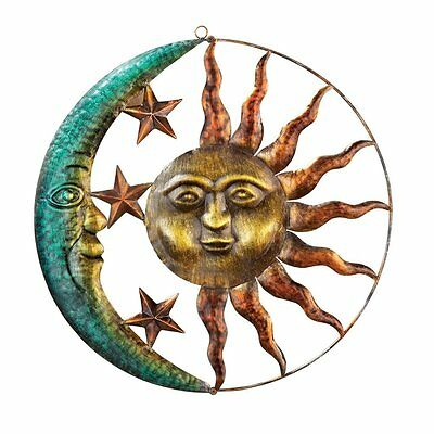 Rustic Wall Sculpture Sun And Moon Metal Wall Art for Indoor or Outdoor Use New