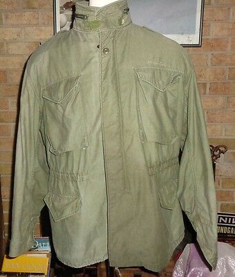 VINTAGE US ARMY GREEN M-65 STYLE COLD WEATHER FIELD COAT JACKET LARGE regular