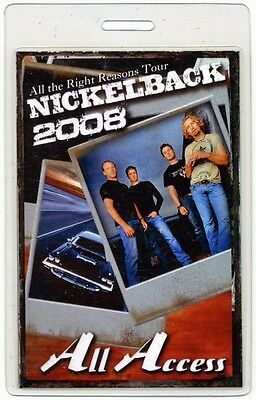 Nickelback authentic 2008 Laminated Backstage Pass All the Right Reasons Tour