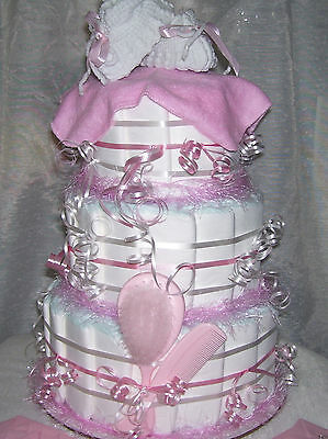 PINK BABY SHOWER Diaper Cake Decoration Party Favor Girl Baby Shower Games Twins